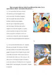 English Worksheets: matching activity