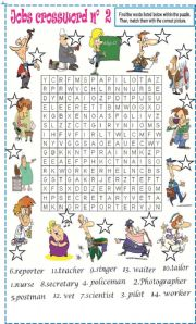 English Worksheet: Jobs wordsearch N�2