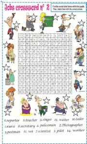English Worksheet: Jobs wordsearch N�2