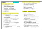 English Worksheet: Reported speech ( statements /questions / commands )