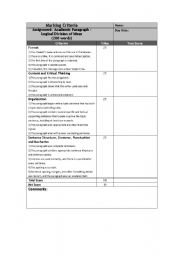 English Worksheet: Writing Scoring Rubrics