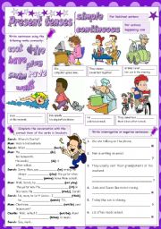 English Worksheet: PRESENT SIMPLE & CONTINUOUS