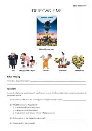 English Worksheet: Despicable Me - Movie Worksheet