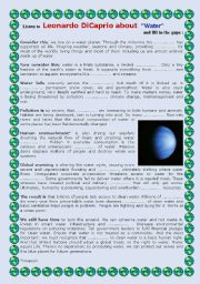 English Worksheet: Watch and listen  Leonardo DiCaprio about WATER !!