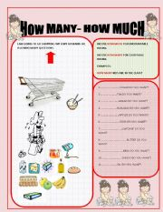 English Worksheets: how much-how many