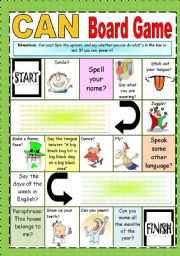 English worksheet: CAN board game