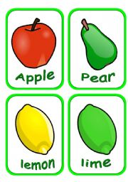 English Worksheet: fruits flashcards (part 1of 2) Fully editable