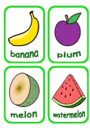 English Worksheet: fruits flashcards (part 2 of 2) Fully editable