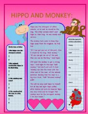 English Worksheets: hippo and monkey