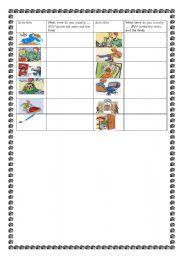 English Worksheets: pairwork daily routine