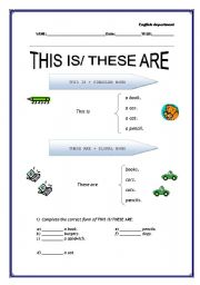 Grammar worksheets > Adjectives > Demonstratives > THIS IS/ THESE ARE