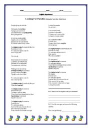 English Worksheets: SONG: Looking for paradise by Alejandro Sanz feat. Alicia Keys
