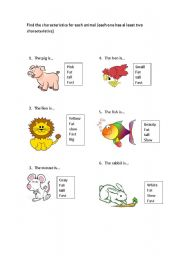 English Worksheets: Animal Characterisctics