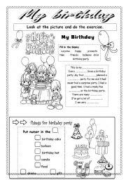 English Worksheet: My btrthday