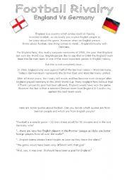 English Worksheet: Football Rivalry: England vs Germany
