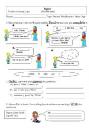 English Worksheets: Personal identification: name / age