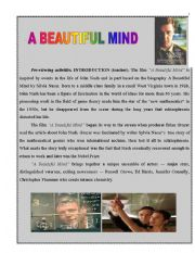 English Worksheet: A BEAUTIFUL MIND MOVIE LESSON PLAN + WORKSHEETS (PART 1)