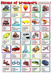 English Worksheet: Means of transport - multiple choice (B&W included)