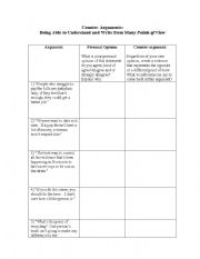 English Worksheet: Creating Arguments and Counter-arguments: Persuasive Writing