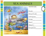 English Worksheets: Sea Animals pre-writing