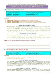 English Worksheet: Advantages and Disadvantages
