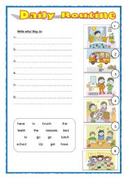 English Worksheets: Daily routine sentences (easier level) editable
