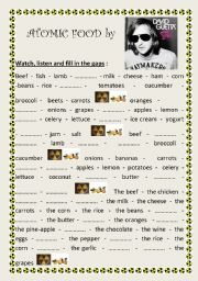 English Worksheet: Atomic Food by David Guetta (Food vocabulary)