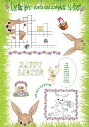 English Worksheet: Easter crossword