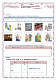 English Worksheets: Means of entertainment 9th form Tunisian pupils