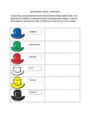English Worksheets: Six Thinking Hats Listening Activity