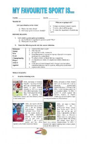 english teaching worksheets sports english worksheets my favourite sport