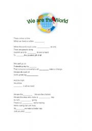 English Worksheets: Gap fill song: