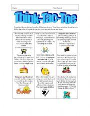 English Worksheets: Think-Tac-Toe