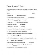 English Worksheets: They, They�re and Their