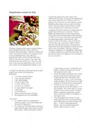 English Worksheets: gingerbread cookies for kids