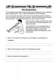 English Worksheets: The Dreamtime