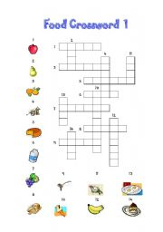 English Worksheet Food Crossword 1