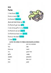 English Worksheets: Purim is the best holiday!