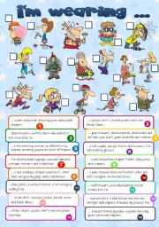 English Worksheet: I�m wearing... **clothes**