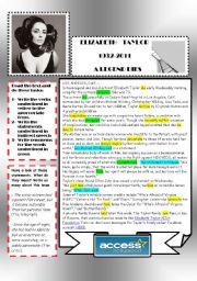 English Worksheets: Elizabeth Taylor: a legend dies