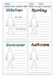 English Worksheet: Seasons, weather, clothes
