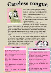 English Worksheets: Reading-comprehension. A careless tongue.