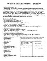 English Worksheet: Interactive Reading Log