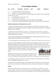 English Worksheet: A Test of Japan�s Stoicism