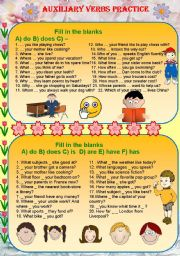 English Worksheet: Auxiliary verbs practice