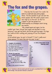 English Worksheets: Reading-comprehension. The fox and the grapes.