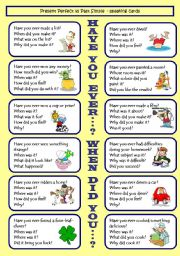 Have you ever...? / When did you...? Present Perfect VS Past Simple GAME