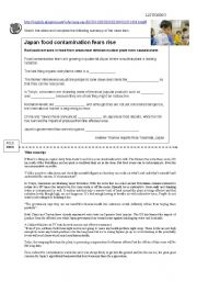 English Worksheet: Listening activity about Japan�s current  food scare
