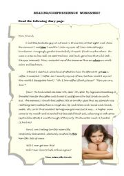 English Worksheets: Adolescence -  a  page of my diary