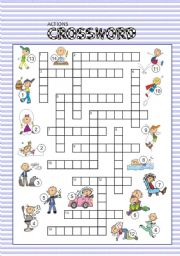 English Worksheet: ACTIONS crossword